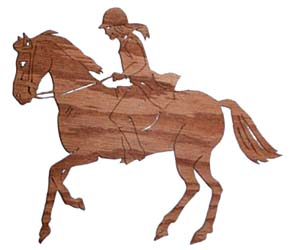wood craft girl on horse